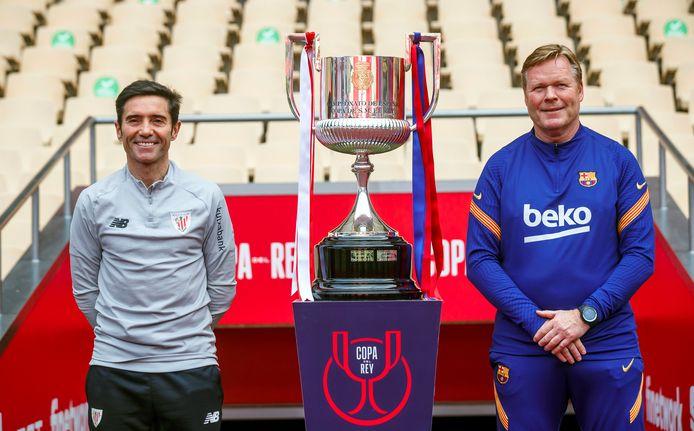Athletic Club-trainer Marcelino Garcia Toral en Ronald Koeman poseren bij de Copa del Rey.