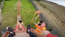 Het beeld vanaf de start van de achtbaan