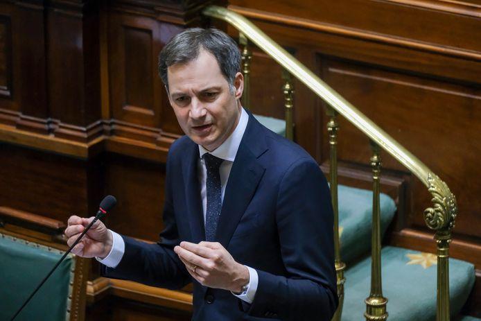 Premier Alexander De Croo vandaag in de Kamer