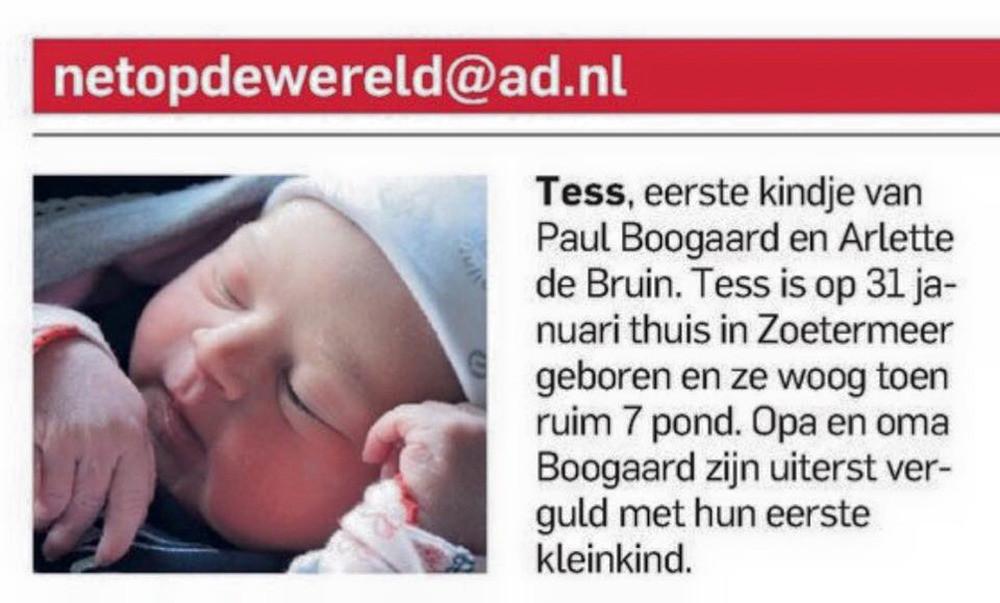 De kleine Tess stond al eerder in het AD, toen ze één dag oud was