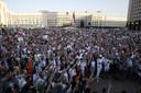 Een protest tegen Loekasjenko in Minsk.