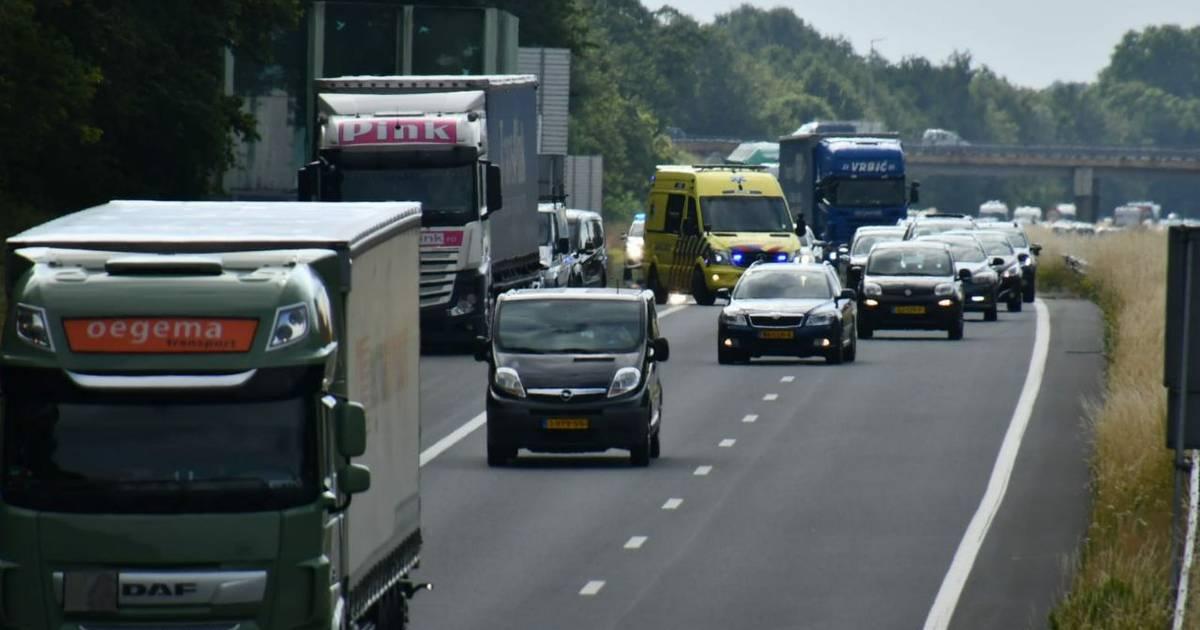 File door aanrijding op de A35 bij Enschede-Zuid.