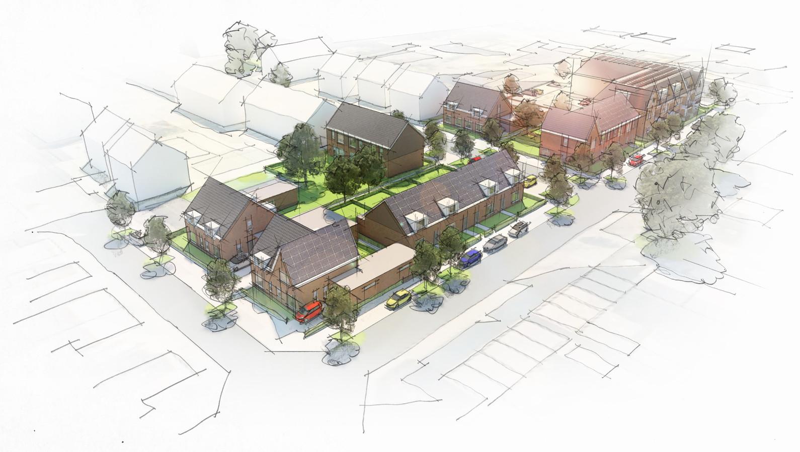 Impressie van nieuwe woonwijk in Rijen op voormalige locatie van KIN Installatietechniek.