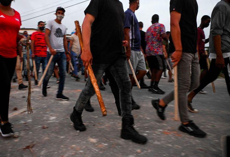 Opstandelingen in Havana, eerder deze week. Beeld AFP
