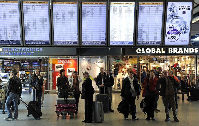 Gestrande reizigers, die vanwege de aswolk niet konden vliegen Beeld anp
