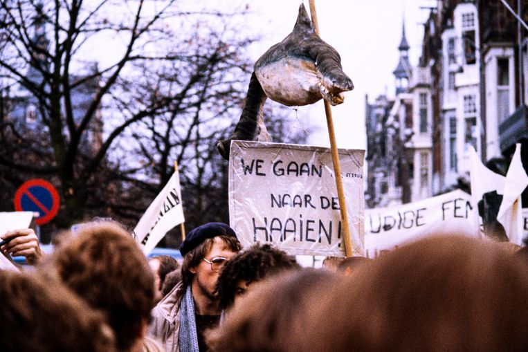 Amsterdam, 21 november 1981, de grote antikruisrakettendemonstratie.  Beeld Hollandse Hoogte / Roel Burgler