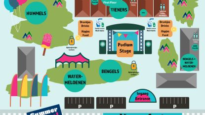 Speelpleinwerking in festivalsfeer, zelfs een podium wordt opgebouwd