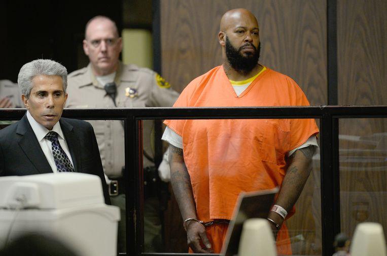 Voormalig platenbaas Marion 'Suge' Knight in de rechtszaal in Los Angeles. Beeld AFP