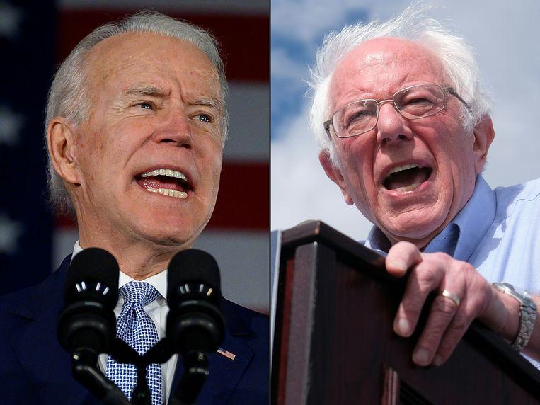 Joe Biden en Bernie Sanders. Beeld AFP