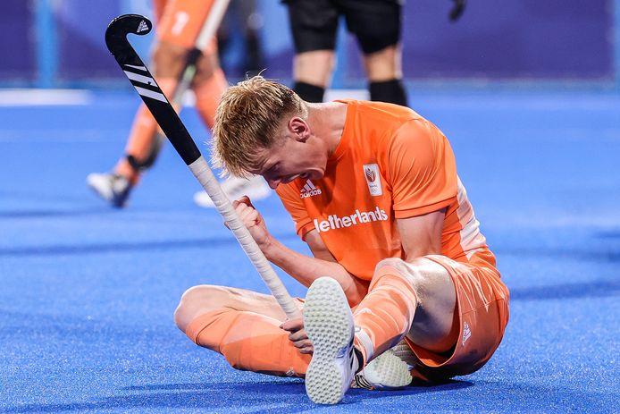 Joep de Mol van Nederland viert de 3-1 tijdens de wedstrijd tegen Canada op de Olympische Spelen.