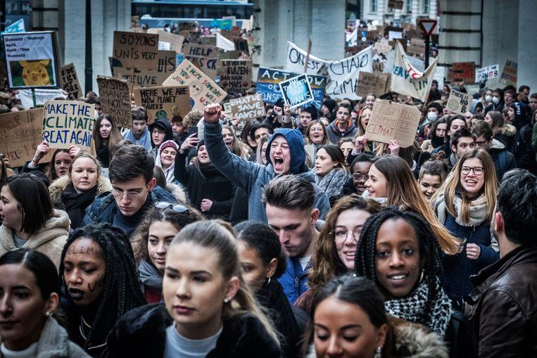 35.000 jongeren op derde editie klimaatmars Youth for Climate. Beeld Tim Dirven