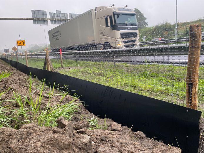 Dit hek langs de N3 bij Papendrecht moet kleine dieren ervan weerhouden over te steken.