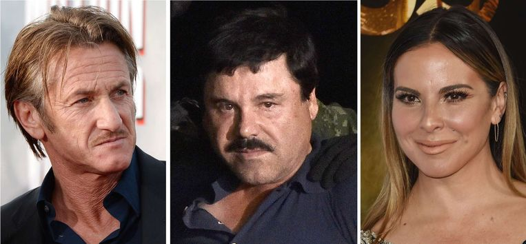 Sean Penn (links), Joaquin 'El Chapo' Guzman en de Mexicaanse actrice Kate del Castillo. Beeld afp