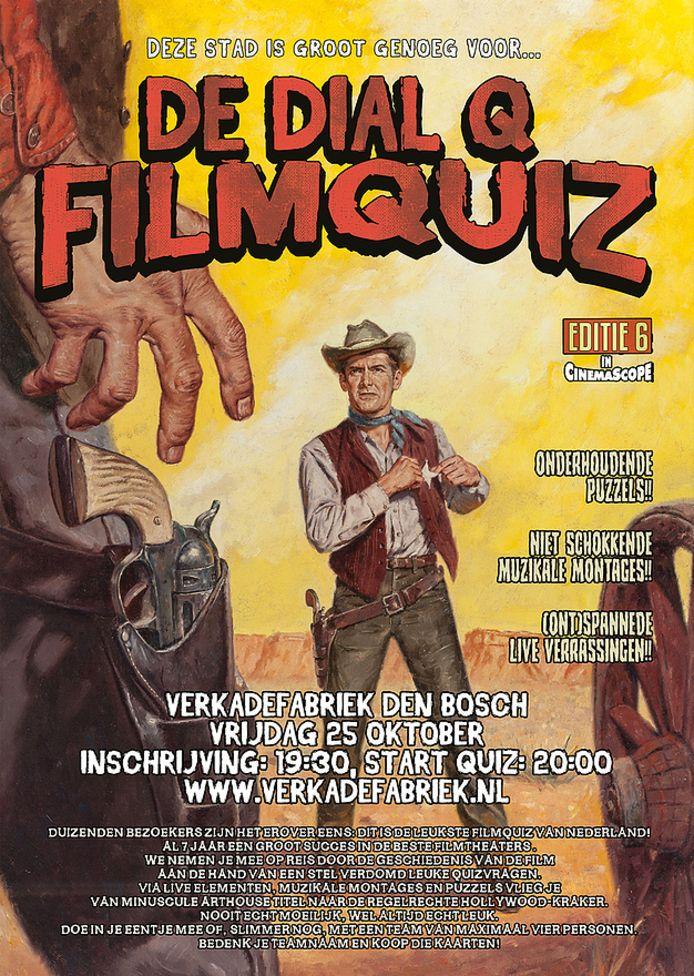 Poster als aankondiging van de Dial Q Filmquiz in De Verkadefabriek in Den Bosch.