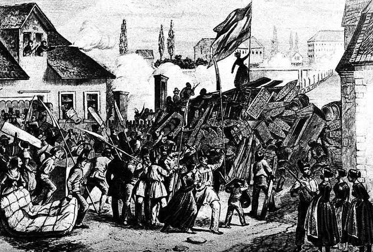 1848: voor het eerst beginnen burgers overal in Europa zich politiek te mengen, zoals hier in het Duitse Mannheim. Beeld Belga