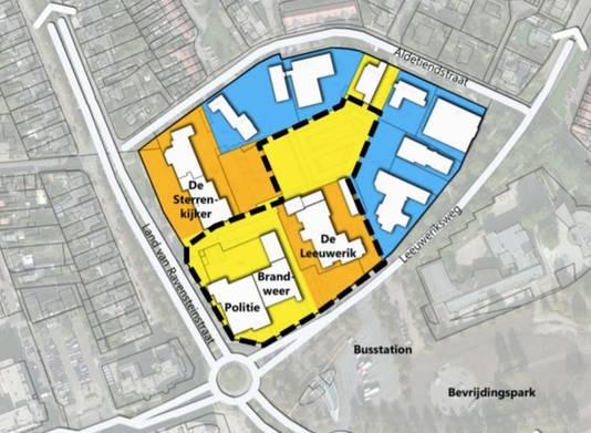 In het geel/oranje gebied binnen de zwarte stippelijn moet een mix van woningen komen. Een flinke woontoren is een optie.