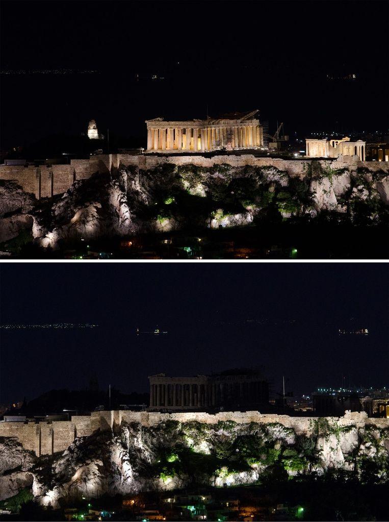 De Akropolis van Athene, de 156 meter hoge tafelberg in de Griekse hoofdstad. Beeld epa