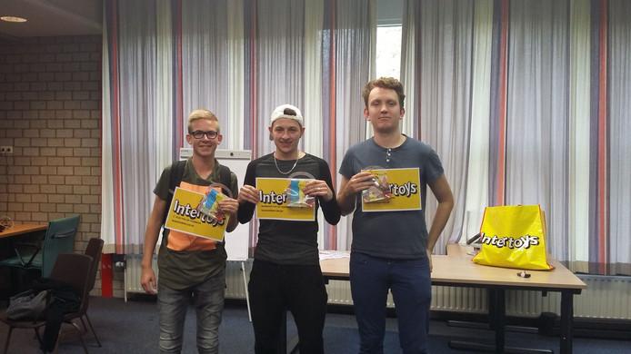 V.l.n.r. Tristan van der Maas (2de), Ercan Ayaz (1e) en Koert van der Klooster (3e)
