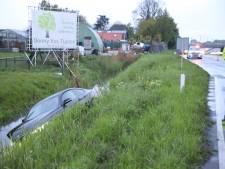 Auto rijdt sloot in langs Wippolderlaan