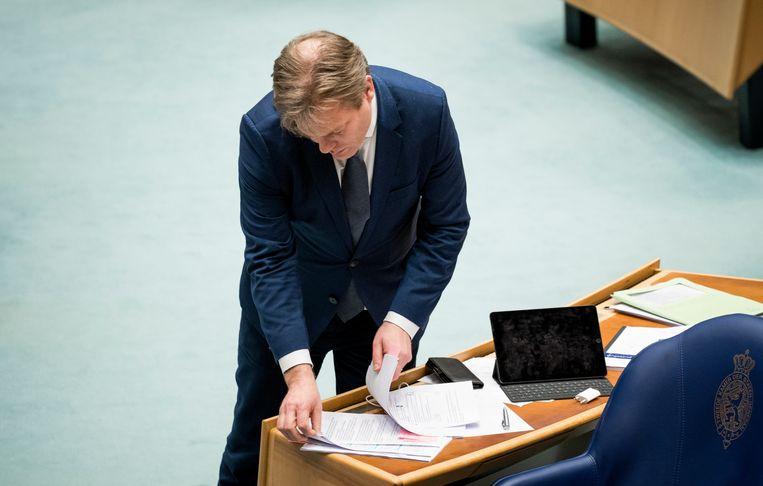 Pieter Omtzigt (CDA) tijdens het debat over het aftreden van het kabinet.  Beeld