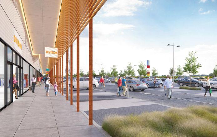 Een impressie van het geplande winkelcentrum 'Ninouter' langs de Brakelsesteenweg.