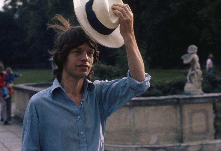 Mick Jagger (Rolling Stones) met zijn panamahoed in oktober 1973.  Beeld Getty Images