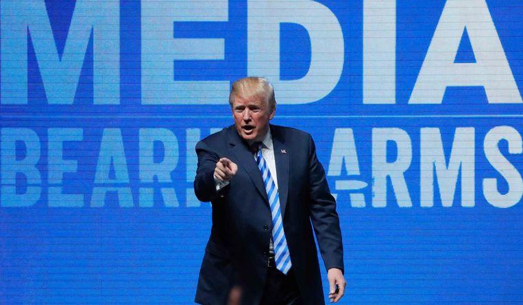 Amerikaans president Donald Trump op de NRA-conventie. Beeld REUTERS