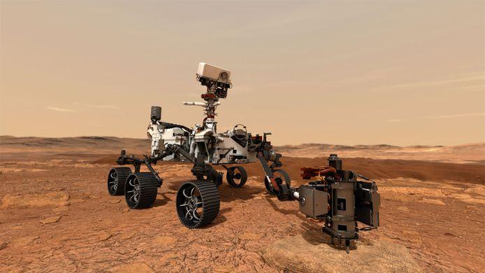 Tekening van NASA's nieuwe Marsrobot 'Perseverance'. Het wagentje is één van drie missies die deze maand richting onze buurplaneet vertrekken.