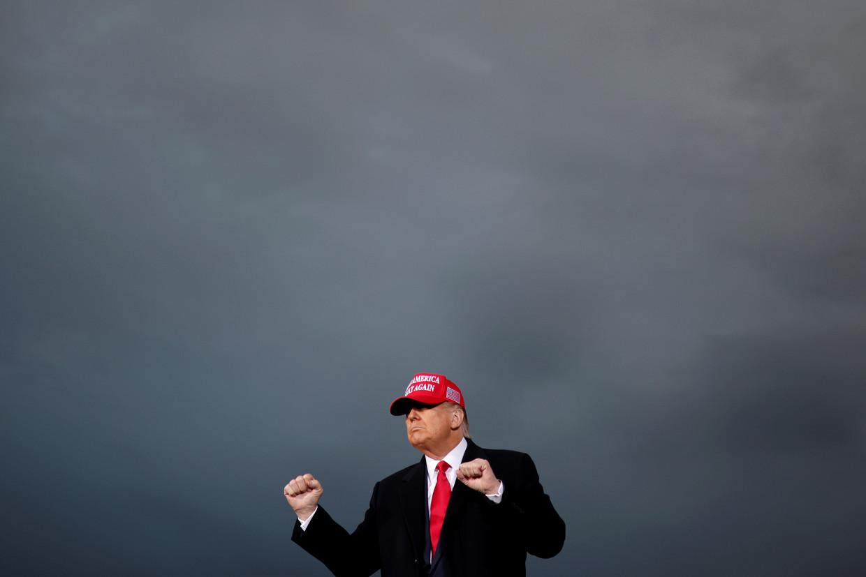 De Amerikaanse president Donald Trump tijdens een verkiezingsrally in Muskegon, Michigan.