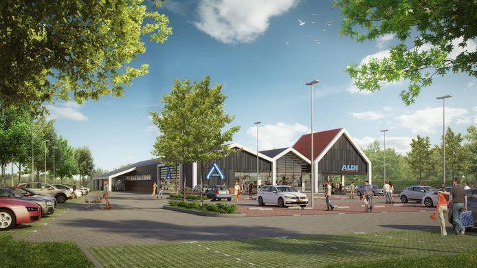 Dit is het schetsontwerp dat Aldi al heeft laten maken voor de nieuwe vestiging aan de Almeloseweg.