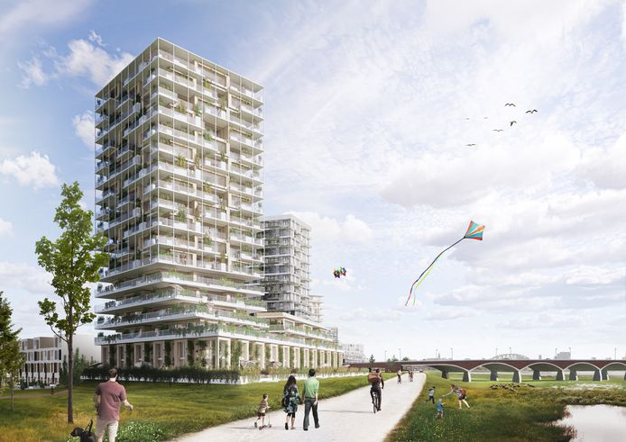 Dijkzone Waalsprong: hoogbouw bij stadsbrug De Oversteek.