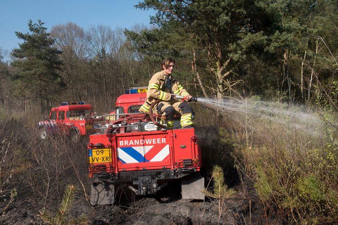 De brandweer aan het blussen bij de natuurbrand aan de Schelmseweg.