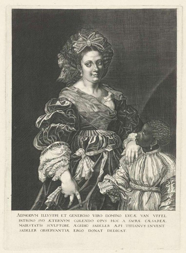 Gravure naar een portret uit 1520 door Titiaan van de vrouw van een hertog, Laura Dianti. Beeld Collectie Rijksmuseum