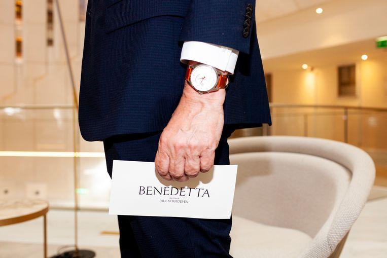 De uitnodiging voor de première van Benedetta in Cannes. Beeld Renate Beense