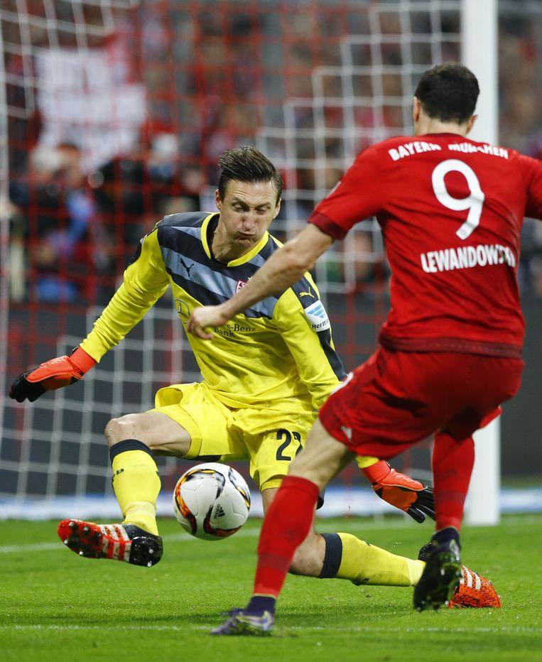 Keeper Tyton en spits Lewandowski. Beeld ap