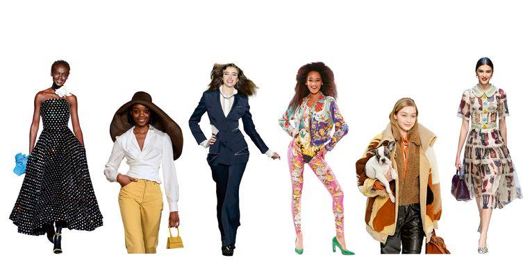 Vanaf links: Richard Quinn, Jacquemus, Sonia Rykiel, Gianni Versace, Tod's, Dolce & Gabbana. Beeld Imaxtree
