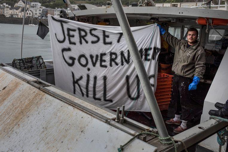 Franse vissers protesteren in Granville, omdat hun visrechten in de wateren van Jersey beperkt zijn. Beeld Getty Images