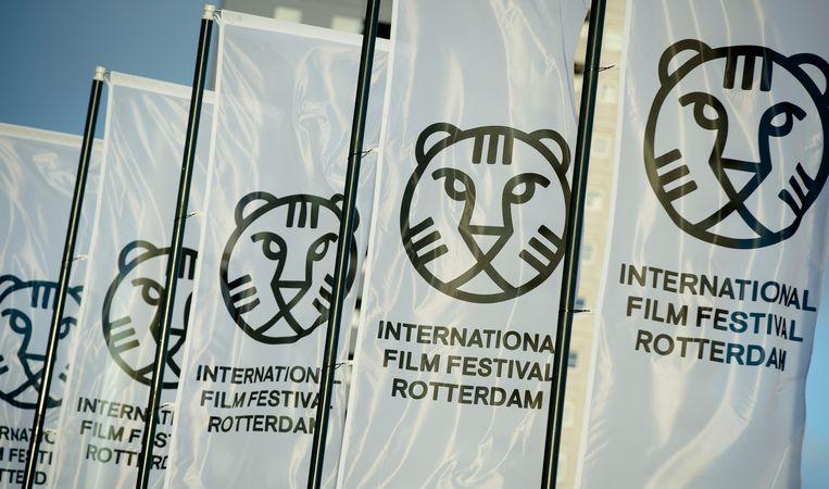 Vlaggen met het logo van het Internationaal Film Festival in Rotterdam.  Beeld ANP Kippa