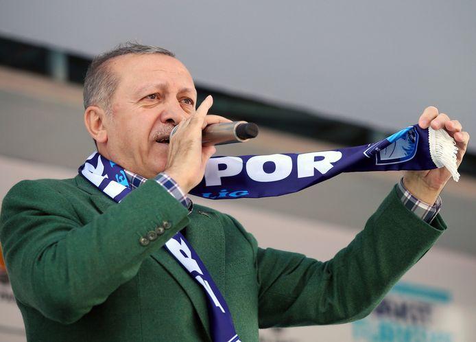 Turks president Recep Tayyip Erdogan tijdens een campagnebijeenkomst in Erzurum op 26 mei 2018.