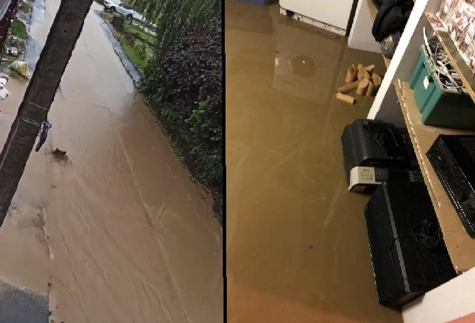 Inondations à la rue de l'Yser à Pont-à-Celles