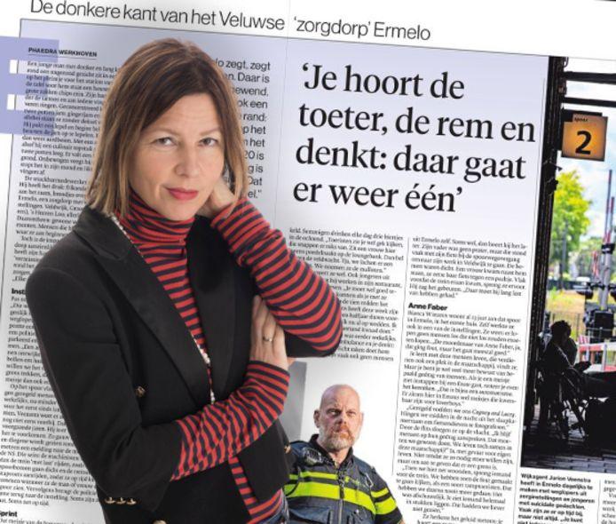 Phaedra Werkhoven met achter haar het bewuste artikel over zelfdoding.
