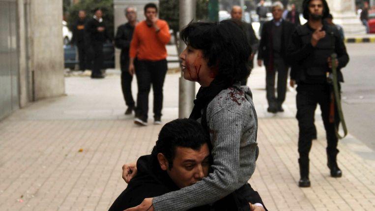 Het moment dat el-Sabbagh werd geraakt door politiekogels Beeld reuters