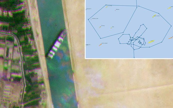 Gps-gegevens tonen de opmerkelijke route van het schip in de Rode Zee, net voordat het binnenvoer in het Suezkanaal.