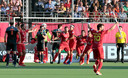 Spain's Ricardo Sanchez, center, jubilates after scoring his sides fourth goal during a men's European Championship field hockey semi-final match between the Netherlands and Spain at the Wilrijkse Plein, Antwerp, Belgium, Thursday, Aug. 22, 2019. (AP Photo/Virginia Mayo)