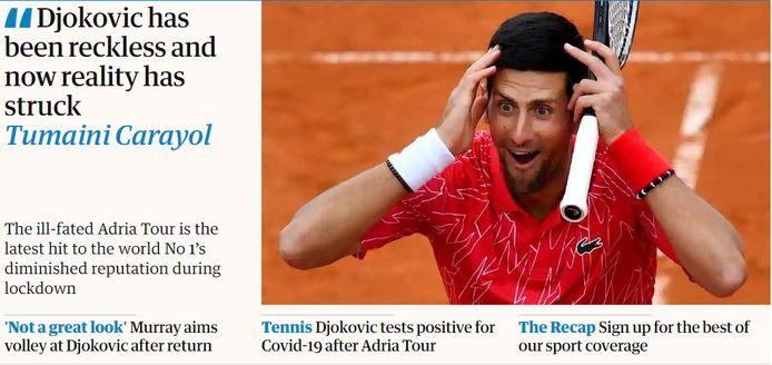 """The Guardian over Djokovic: """"Deze lockdown was catastrofaal voor zijn reputatie."""""""