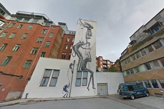 Verstopt kunstwerk in de straten van Malmö, Zweden.