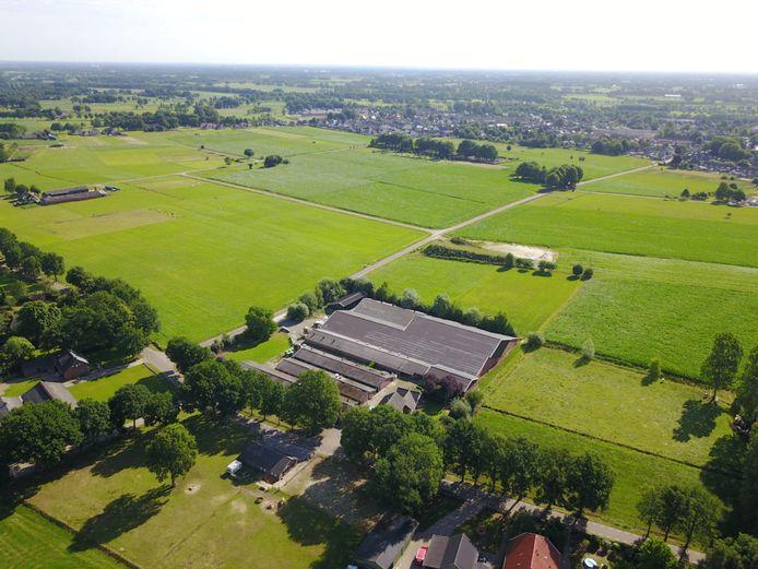 Een luchtfoto van de nieuwbouwplek aan de Enterse Achteresweg.