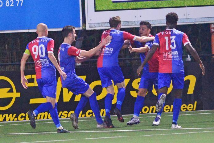Vreugde bij SK Londerzeel nadat Christophe Pieyns (midden) voor de 1-0 zorgde.