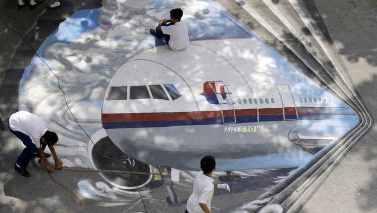 Een tekening van de vlucht van Malaysia Airlines die op 8 maart spoorloos verdween. Beeld epa