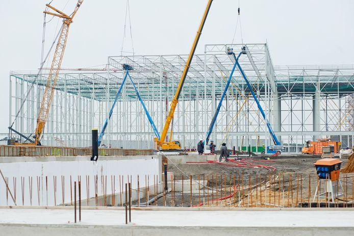 Archiefbeeld oktober 2020: met de bouw van het distributiecentrum van Plus is het bedrijventerrein Vorstengrafdonk in Oss vrijwel vol. Oss heeft een tekort aan bedrijventerreinen.